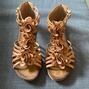 Floral Design Leather Sandals